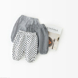 Wholesale Tights Color Stripes - 3 color 2018 INS new arrival baby kids thin bloomers spring summer cute dot plaid stripe printed pants free shipping