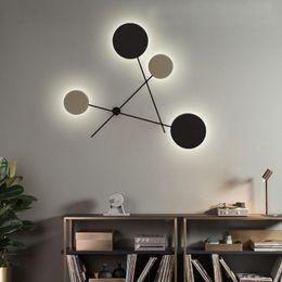 2019 luz nocturna de escaleras Moderno disco de LED lámpara de pared lámpara de pared de metal negro dormitorio decoración del hogar iluminación envío gratis H023