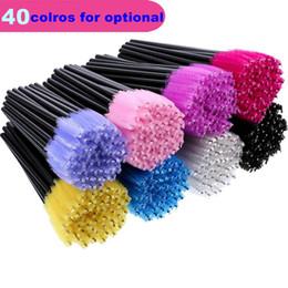Wholesale mascara comb brush - 40 Colors Mascara Brush Disposable Eyelash Brush Mascara Wands Applicator Wand Brushes Eyelash Comb Brushes Spoolers Eye Makeup