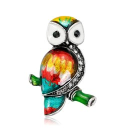 Wholesale American Owls - Owl Brooch Diamond Alloy Drop Oil Animal Cartoon Gem Brooch Europe United States Fashion Temperament Personality High Jewelry Clothing Women
