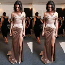 long silk empire prom dress Coupons - 2019 Unique Rose Gold Cap Sleeve Mermaid Long Prom Dresses Boat Neck Off the Shoulder Side Slit Ruched Pleat Satin Evening Gowns