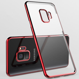 Wholesale Iphone Gold Plating Case - Electroplating Clear Case Ultra thin Plating Soft TPU Defender Phone Cases Cover For iPhone X 8 7 6 6S Plus Samsung S8 S9 Plus Note 8