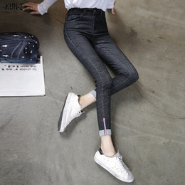 Wholesale Denim Over - Extra Long Embroidery Denim Pencil Pants For Tall Women Over Length Elastic Flower Skinny Jeans