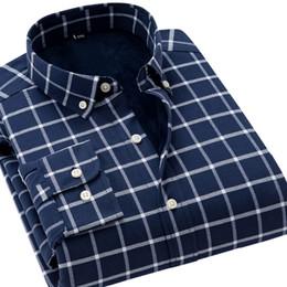 f3cce2cff64 Winter Thick Velvet Warm Men s Shirts Plaid Oxford Cotton Men Dress Shirts  Long Sleeve Casual Slim Fit Male Button Down Blouse