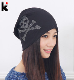 Wholesale Pattern For Beanie - Fashion Spring and Autumn hat beanies Diamond Skull Pattern cap hip-hop Skullies gorro turban for women bonnet caps