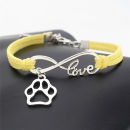 bracelet dog pendants Coupons - High Quality Infinity Love Pet Footprint Cats Dogs Paw Claw Pendant Charm Bracelet & Bangles Yellow Leather Suede Rope Jewelry for Women Men