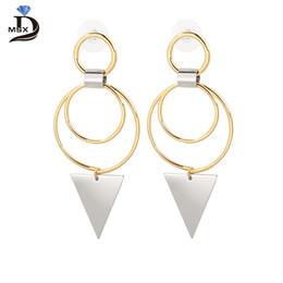 Wholesale Earring Big Triangle - MSX Triangle Pendant Big Double Circle Unique Women Pendant Earring High Quality Fashion Jewelry Charm Earring