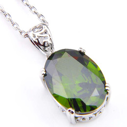 Wholesale Gold Oval Necklace - 2018 Gemstone Jewelry Pendant Colares Luckyshine 2pcs lot Party Holiday Jewelry Gift Classic Oval Olive Green Quartz Gems 925 Silver Pendant