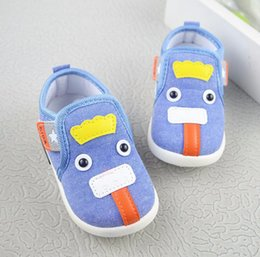 Wholesale first strap - Boy baby first walkers Buckle Strap light weight blue soft cotton fabric comfortable shoes