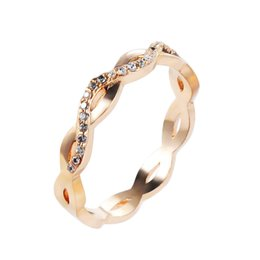 Wholesale Copper Gilding - Gold Gilded Cubic Zirconia Wedding Band Woman Ring Size 6 7 8