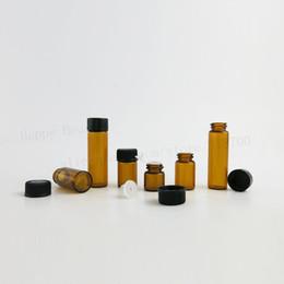 Wholesale Brown Amber Glass Bottles - 50pcs x 1ml 2ml 3ml 5ml Tiny Amber Glass Essential Oil Bottle with Hole Insert Orifice Reducer Cap Small Brown Glass Vials
