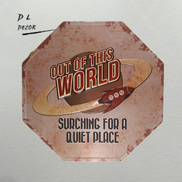 Wholesale Place Stickers - DL- out of the world place galaxy classic metal signs, irregular, garage,pub,art wall sticker