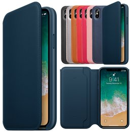 Wholesale function fit - Original Leather Folio Wallet Case Official Auto Sleep Function Flip Smart With Card Slot Cover Cases for Apple iPhone X with Retail Package