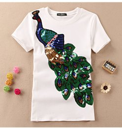 Elegante t-shirts online-Edles elegantes T-Shirt Frauen-Pfau-Sequined Sequins-T-Shirt Art- und Weiseneues Spitzent-shirt Femmer Dame Sakura Clothes