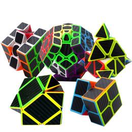 Würfel kohlenstoff online-(5er Set) Kohlefaser Aufkleber Magic Cube Puzzle Spielzeug Geschwindigkeit Cube Gehirn Teaser Puzzles mit Kohlefaser Aufkleber