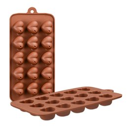 Wholesale Heart Silica - New Stytle DIY 15 HOLE Heart-shaped Silica Gel DIY Handmade Cake Molds Silicone Chocolate Mold Random Color JSC184