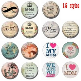 Wholesale Moms Cartoons - Round Love Mom Quote Fridge Magnet 2018 New 30MM Glass Dome Refrigerator Sticker Home Decoration Message Holder Mothers Day Gift