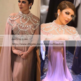 Wholesale Long Blush Chiffon Gowns - Yousef Aljasmi 2018 Blush Chiffon Evening Dresses With Wrap High Neck Beaded Crystal Sweep Train A Line Full Back Dubai Arabic Prom Gowns