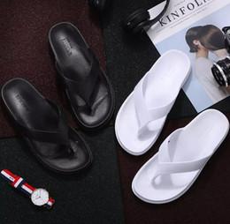 Wholesale Floor Mop Brands - 2018 Cheap 2018 Europe Brand Fashion mensstriped s causal Non-slip summer black white slippers flip flops slipper BEST QUALITY 39-44