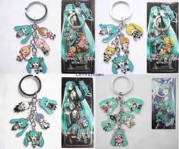 Wholesale Hatsune Doll - Hot!10 Pcs Mixed Classic Cartoon Hatsune Miku Figure pendants doll color metal keychain Japanese anime key ring Free shipping