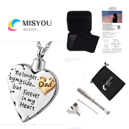 Wholesale Engraving Brass - Jewelry 316 stainless steel custom carved DAD heart-shaped cremated urn to commemorate lover's pet engraving funeral necklace