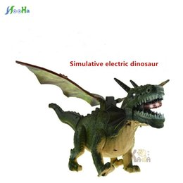 Wholesale plastic dinosaurs large - Large Electric Dinosaur Pterosaur Rex Simulation Sound And Light Walking Animal Model Gift For Kids Electronic Pet Free Shipping