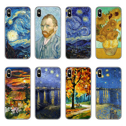 Wholesale Plastic Paint Green - TPU clear Phone Case For Apple iPhone 5 5S SE 6 6S 7 8 Plus X Van gogh art painting draw print Soft silicone gel Back cases Cover+protector