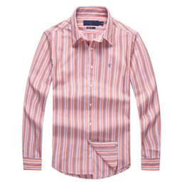 Wholesale European Men Business Suits - European Major Suit 2017 Spring Xia Men Long Sleeve Business Affairs Pure Cotton Shirt POLO Will Code Leisure Time Stripe Avoid