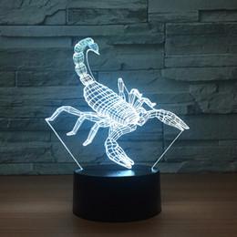Batterie de scorpion en Ligne-Scorpion 3D Illusion Optique Lampe Veilleuse DC 5V USB Alimenté Batterie En Gros Dropshipping Shippin Gratuit