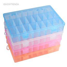 хранилище ювелирных изделий Скидка ISHOWTIENDA 1 шт. регулируемая 24 отсек прозрачный пластиковый ящик для хранения ювелирных изделий серьги случае небольшие объекты Кая-де-Almacenaje