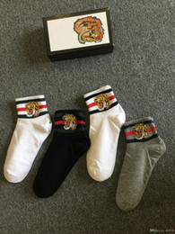 Wholesale animal print gift boxes - 4 pairs lot embroidery tiger head socks 1 black 2 white 1 grey color with green red strip with gift box