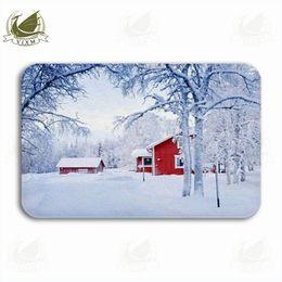 2018 желтые дома Vixm Красный дом в снег Фея лес Финляндия Добро пожаловать дверь коврик коврики фланель противоскользящие вход крытый кухня ванна ковер