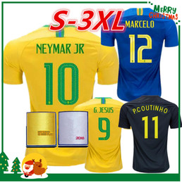 Wholesale M L Xl Xxl - 2018 Brazil soccer jersey NEYMAR JR home World Cup COUTINHO DAVID LUIZ COSTA COUTINHO PAULINHO MARCELO G JESUS 2019 Brazil football shirt