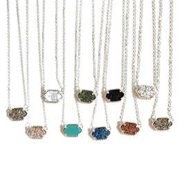 piedra druzy natural Rebajas Moda collares druzy 10 colores cadenas del colgante del encanto de la geometría de piedra natural plateado plata para joyería de regalo de lujo diseñador de las mujeres