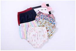 Wholesale Leggings Floral Xl - Baby Shorts Striped Floral Printed Short Pants Triangular Shorts Baby Girls Leggings Pure Cotton Outfit 0-24M B11