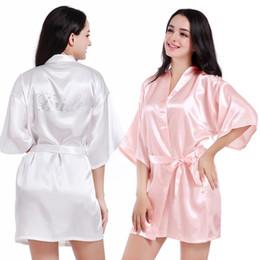 Wholesale Wholesale Kimonos Robes - Wholesale-Satin Faux Silk Wedding Bride Bridesmaid Robes,White Bridal Dressing Gown  Kimono Bathrobes