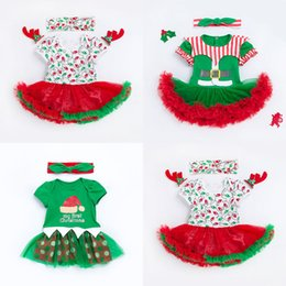 Wholesale santa skirts - Baby girls Christmas lace tutu skirts Rompers children Santa stripe Print Jumpsuits 2018 Xmas Boutique kids Climbing clothes C4708