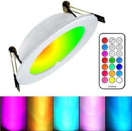 Wholesale White Kitchen Timer - 2017 Newest RGBW LED Downlights Recessed Ceiling Panel Lights Dimmable 10W RGB +Warm Cold White AC 110-240V + Timer Remote Control