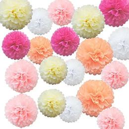 Fiori di carta ballo matrimonio online-30pcs / lot Tissue Paper Pom Poms Flower Balls per la festa nuziale di compleanno Baby Shower decorazioni 10-35cm
