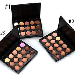 paletas de maquillaje profesional de pigmento Rebajas Profesional 15 Colores de la Tierra Mate Sombra de ojos Paleta Pigmentos Maquillaje Brillo Sombra de ojos Contorno Cosmético Conjunto 3 stlyes Q154