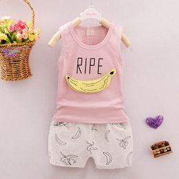Estate Banana Baby Boy Girl vestiti in cotone senza maniche Pantaloncini Shorts Pantaloni 2 pezzi Abbigliamento bambini Imposta abiti neonati da