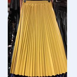 PU Accordéon Plisse Jupe Automne Hiver Nouveau Style En Cuir Jupe Taille Haute Faldas Largas Elegantes Livraison Gratuite 2017 ? partir de fabricateur