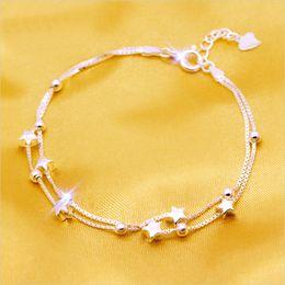 2018 Standard Silver Star Bracelet double deck Pentagram primera joyería mano cadena mujer desde fabricantes