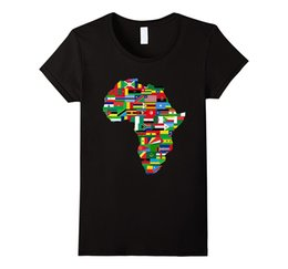 algodão gráfico tees marcas Desconto T das mulheres África T-shirt País Africano Bandeiras Continente Graphic Tee Design de Manga Curta T-shirt O Pescoço de Algodão Casuais Mulheres Roupas de Marca