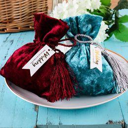 Favorecer bolsas de regalo online-Bolsa de tela tejida para regalos de caramelo Bolsas de organza de tela Decoración de bodas Regalos para regalos Bolsas de empaque para dulces de dulces