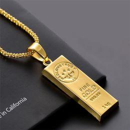 Collier en acier inoxydable glacé sur Golden Bar forme pendentif rond boîte chaîne Fortune charme collier Hip Hop Mens cadeau de Noël ? partir de fabricateur