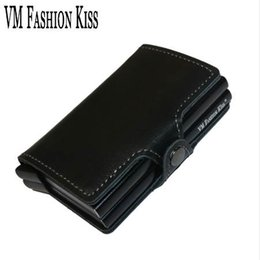Wholesale leopard print metal - VM FASHION KISS RFID Safe Genuine Leather Aluminum Box Credit Card Wallet Anti Scanning Information Business Card Holder Clips