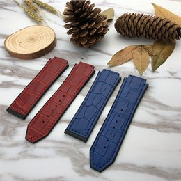 Wholesale bamboo band - YQ 25*19 Buckle 22mm Genuine Calf Leather Watch Band For HUB Series Watches Strap Watchband Man Fashion Wristband Black Brown Blue Bamboo