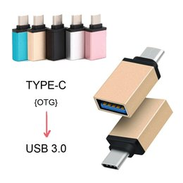 Wholesale Otg Adapter Iphone - New Metal USB 3.1 Type C OTG Adapter Male to USB 3.0 A Female Converter Adapter OTG Function For iPhone Samsung Macbook Google Chromebook