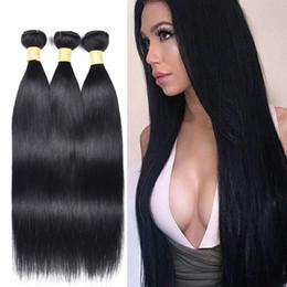 Tejido de pelo negro 22 24 online-Paquetes de pelo liso de Malasia pre coloreado 1 # Jet Black Armadura de cabello humano 3 paquetes de paquetes de cabello humano Remy Jet Black